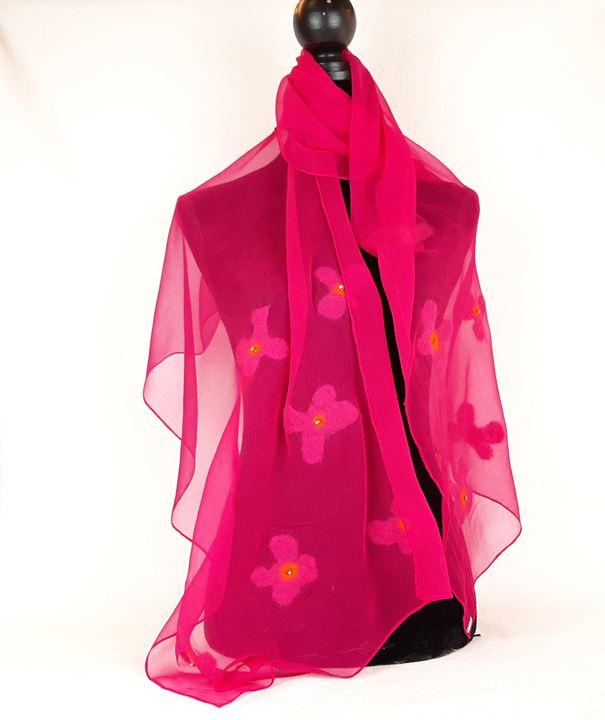 Grote afbeelding Sjaal: 'Bloemetjes gordijn'