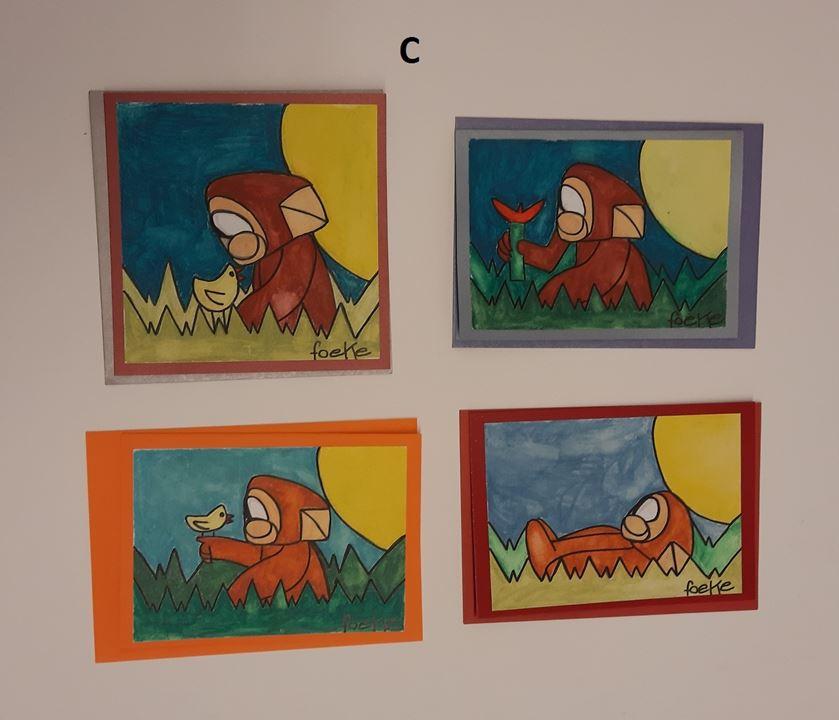 Grote afbeelding set van 4 kunstkaarten