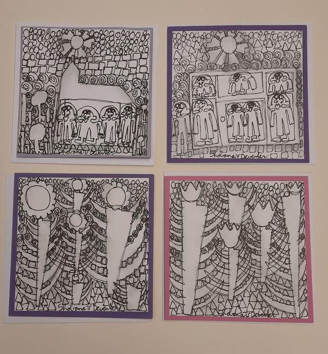 Grote afbeelding set van 4 kunstkaarten met enveloppe