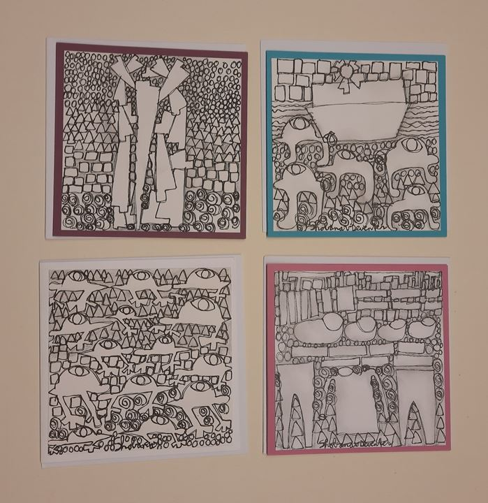 Grote afbeelding set van 4 kunstkaarten met enveloppe (kopie)